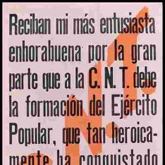 Telegrama del Gobernador General de Aragón al Comité Nacional de la C.N.T.