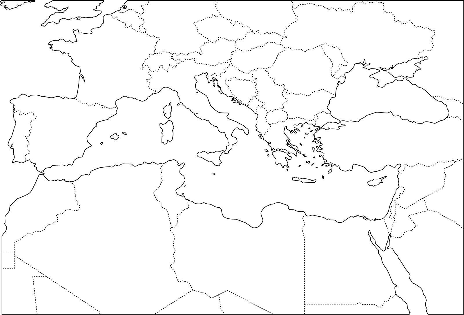 Mapa de países del Mediterráneo. Freemap
