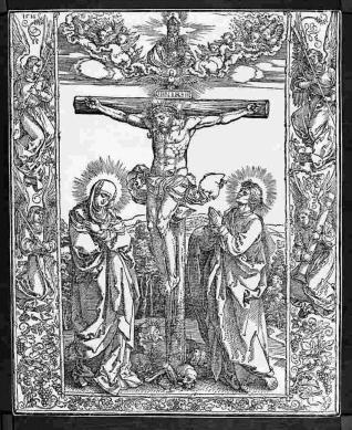 La crucifixión, con la Virgen y San Juan
