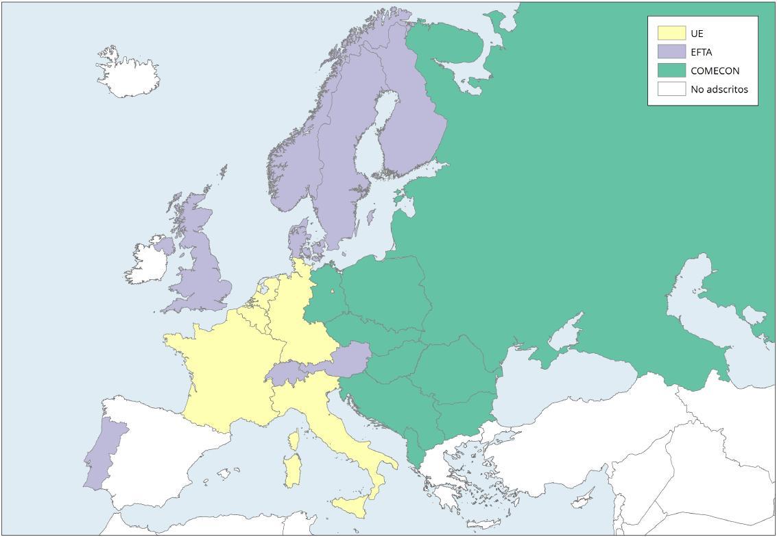 Mapa de Europa: Organizaciones de integración económica 1961. Learn Europe