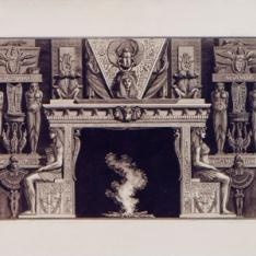 Chimenea egipcia con montante decorado con grandes figuras sedentes