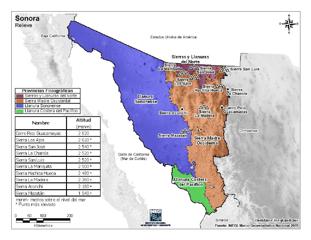 Mapa en color de montañas de Sonora. INEGI de México