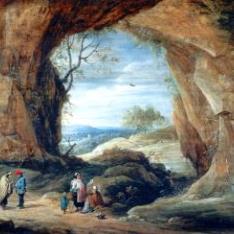 Campesinos a la entrada de una gruta / La Buenaventura