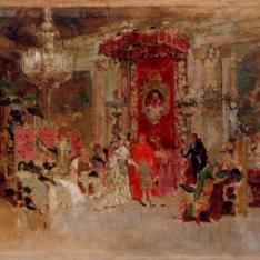 Boceto para La recepción de un cardenal