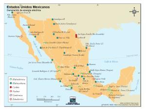 Mapa de generación de energía en México. INEGI de México