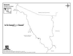 Mapa mudo de Sonora. INEGI de México