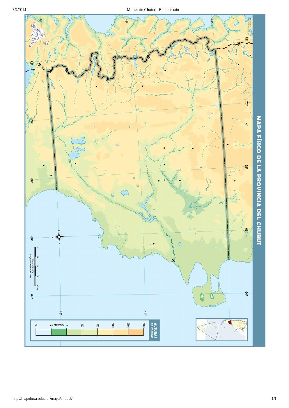 Mapa mudo de ríos del Chubut. Mapoteca de Educ.ar