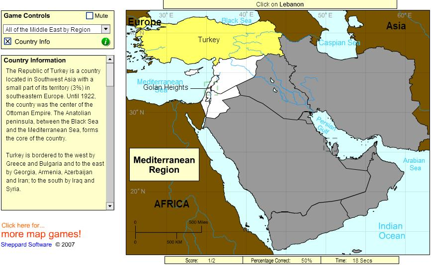 Countries of Middle East. Beginner. Sheppard Software
