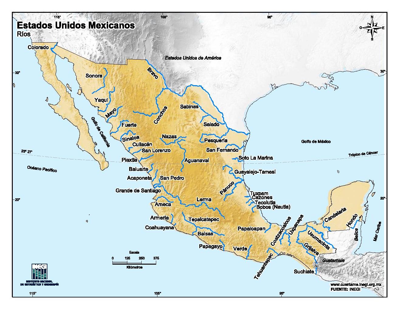 Mapa en color de ríos de México. INEGI de México