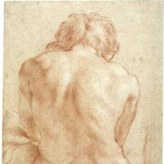 Desnudo masculino sentado de espaldas