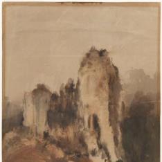 Paisaje con castillo en ruinas