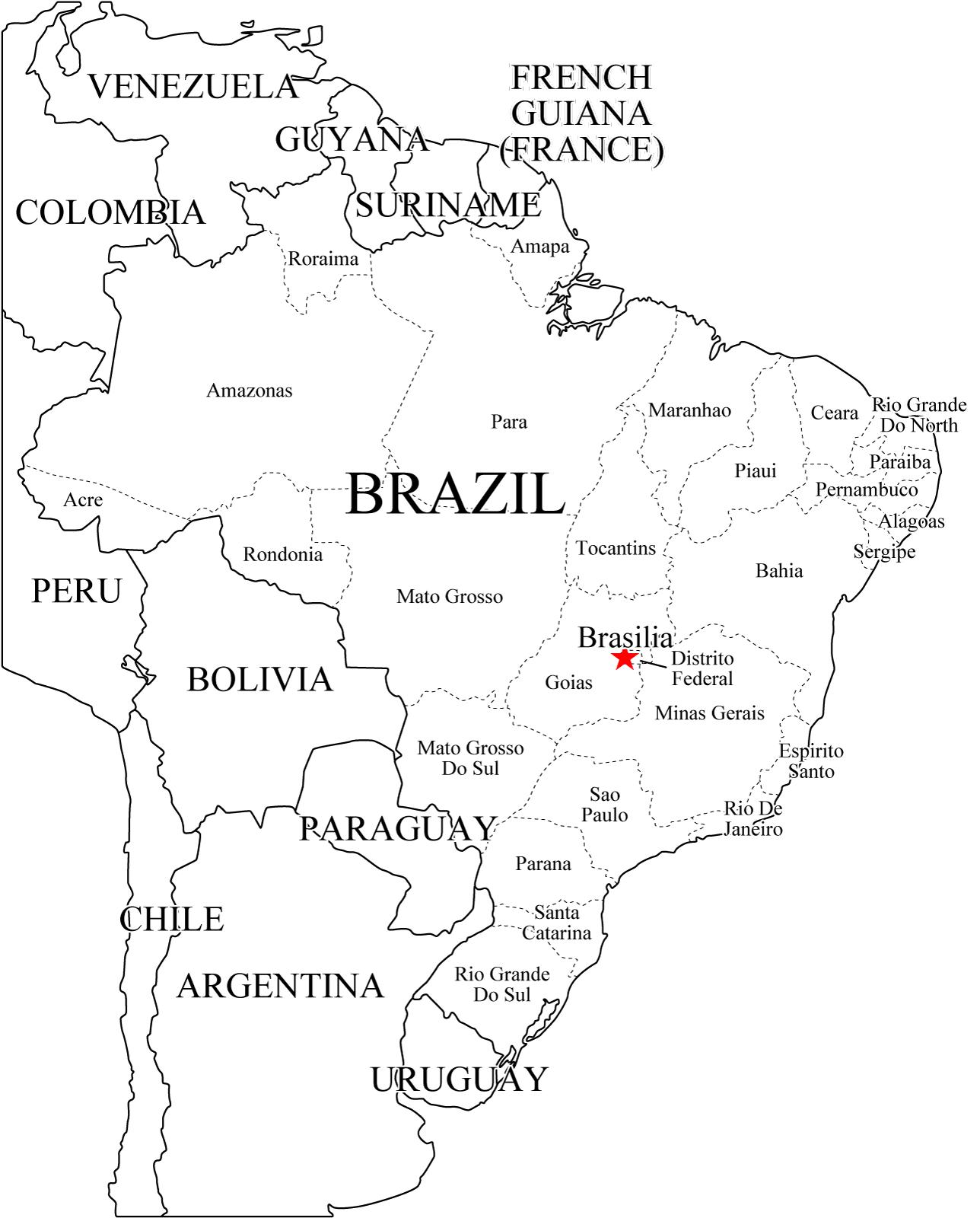 Mapa de estados de Brasil. Freemap