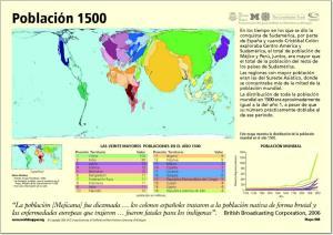 Mapa de países del Mundo. Población año 1500. Worldmapper