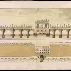 Alzado y planta del templo de Himeneo construido en la explanada que divide el Pont Neuf en dos partes