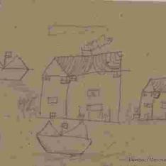 Paisaje con casas y barcos