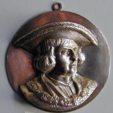 Relieve en plata con retrato de Maximiliano I de Habsburgo