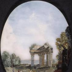 Paisaje con ruina de un templo