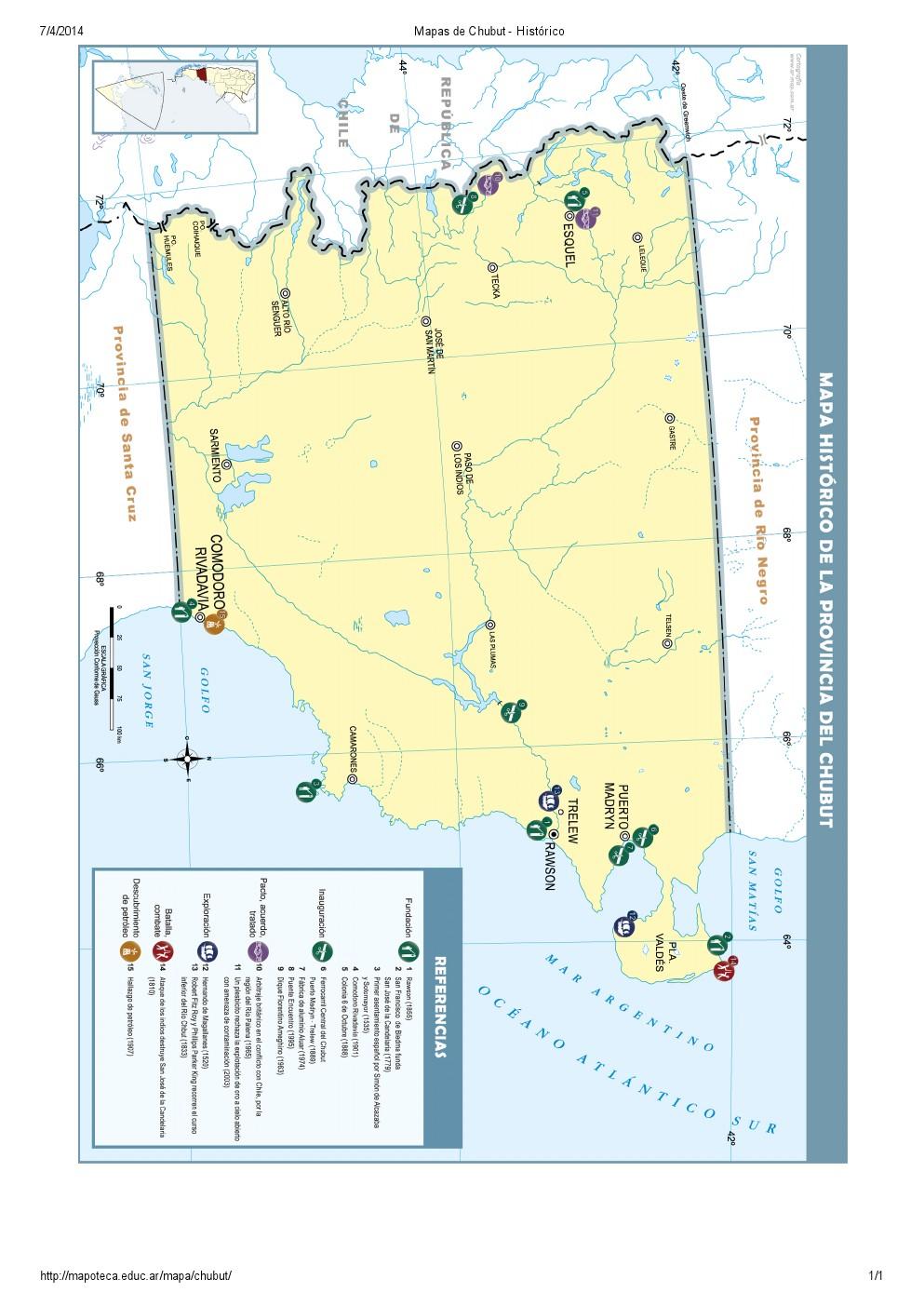Mapa histórico del Chubut. Mapoteca de Educ.ar