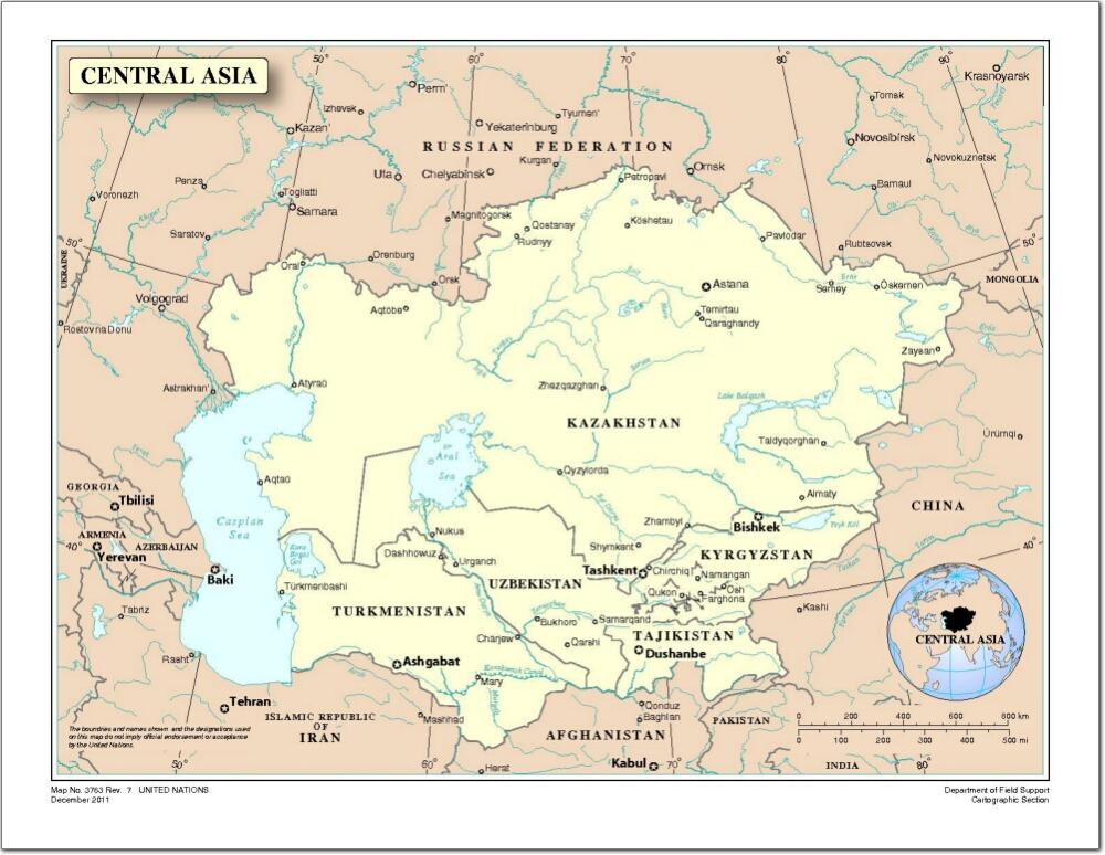 Mapa de países y capitales de Asia Central. Naciones Unidas