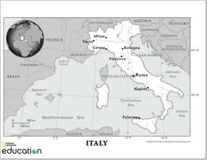 Mapa de ríos de italia. National Geographic