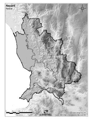 Mapa mudo de montañas de Nayarit. INEGI de México