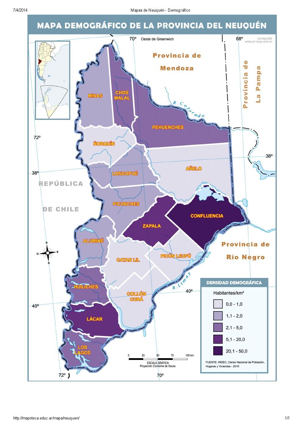 Mapa demográfico de Neuquén. Mapoteca de Educ.ar