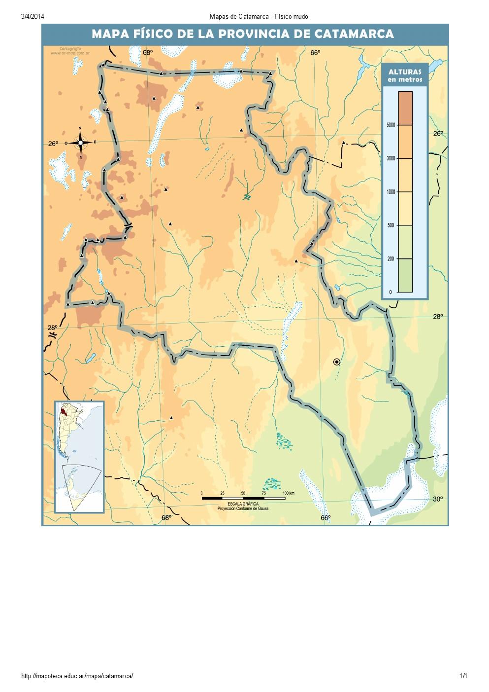 Mapa mudo de ríos de Catamarca. Mapoteca de Educ.ar