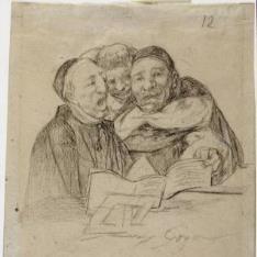 Un clérigo y dos dominicos cantando. Álbum H, 12