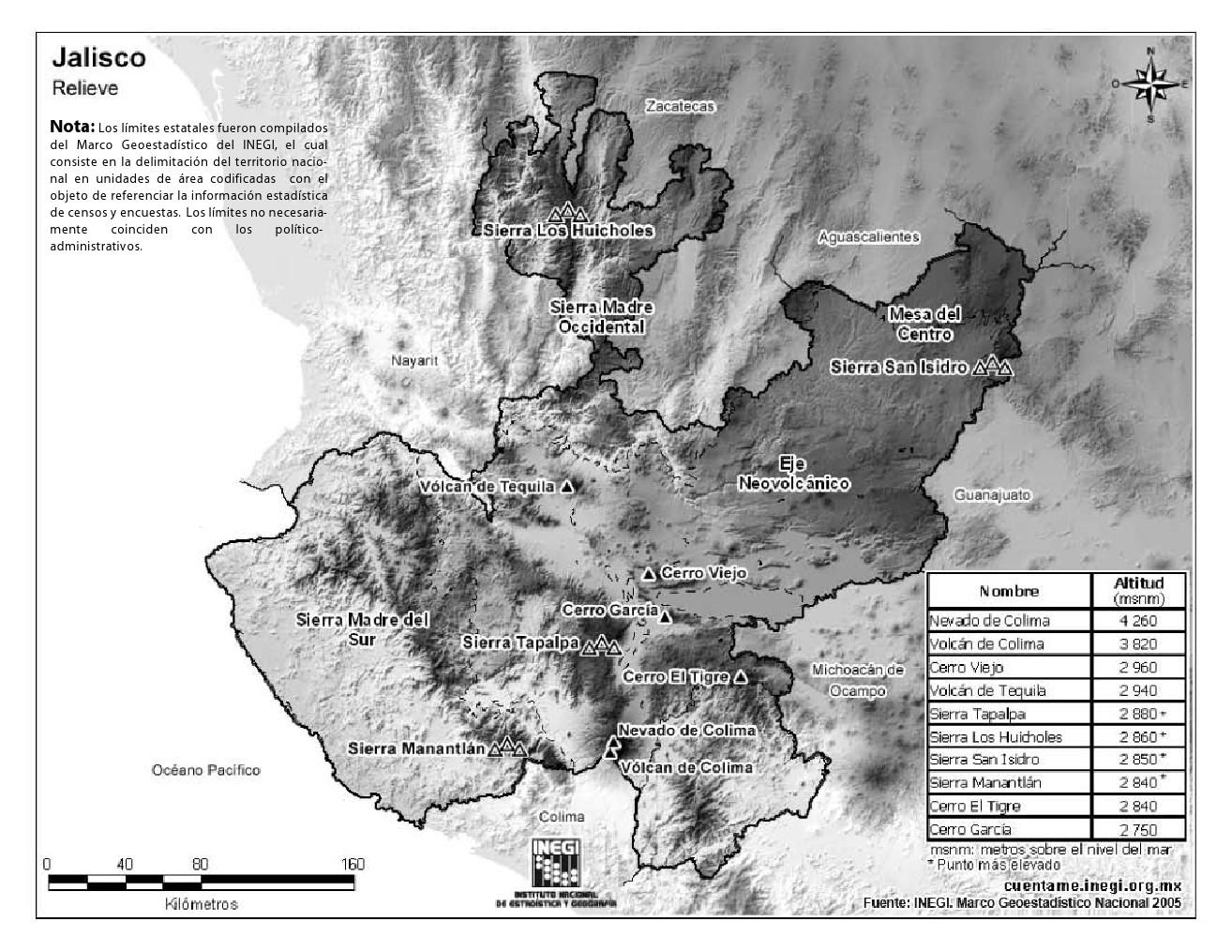 Mapa de montañas de Jalisco. INEGI de México