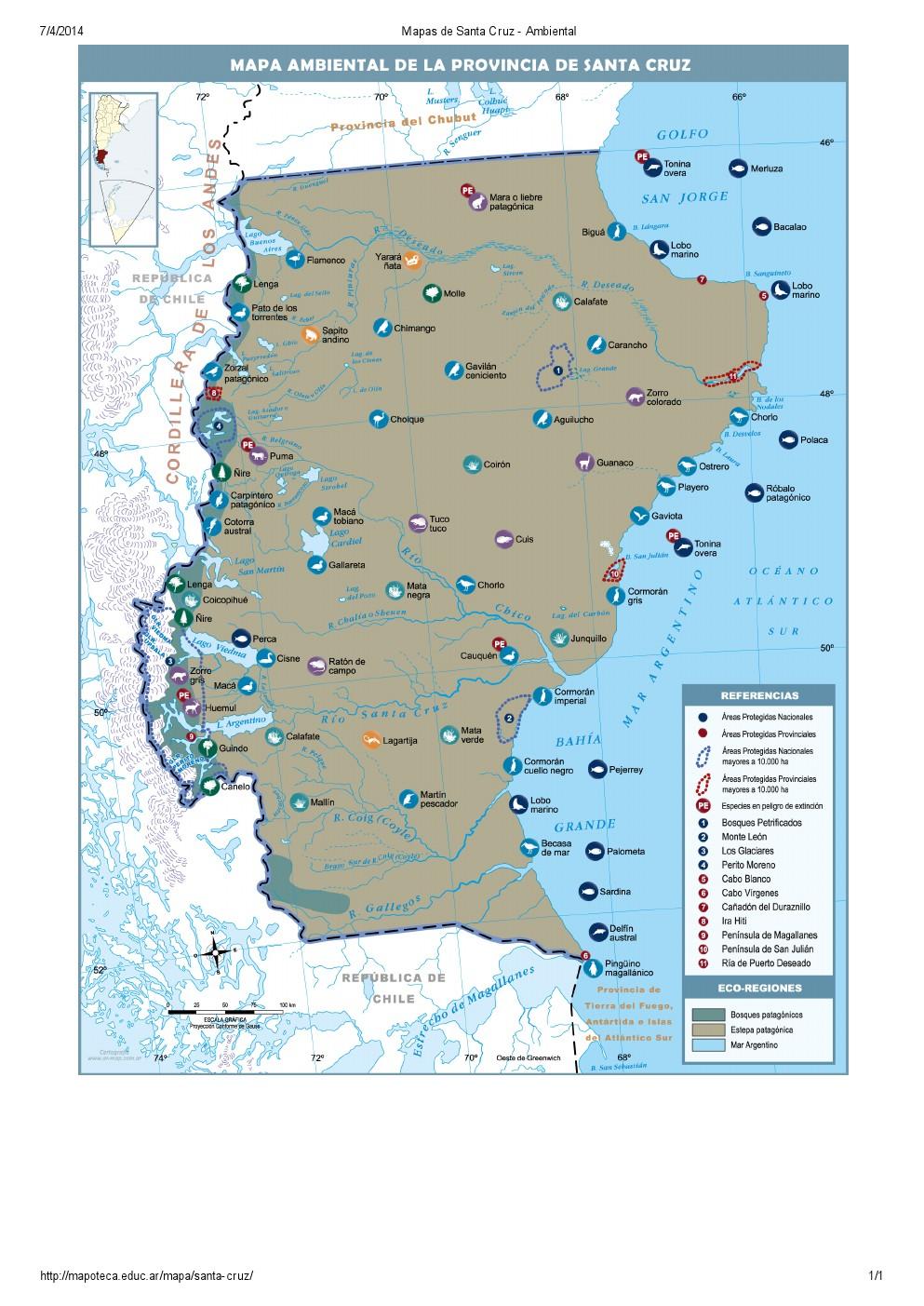 Mapa ambiental de Santa Cruz. Mapoteca de Educ.ar