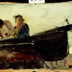 Barca con tres pescadores