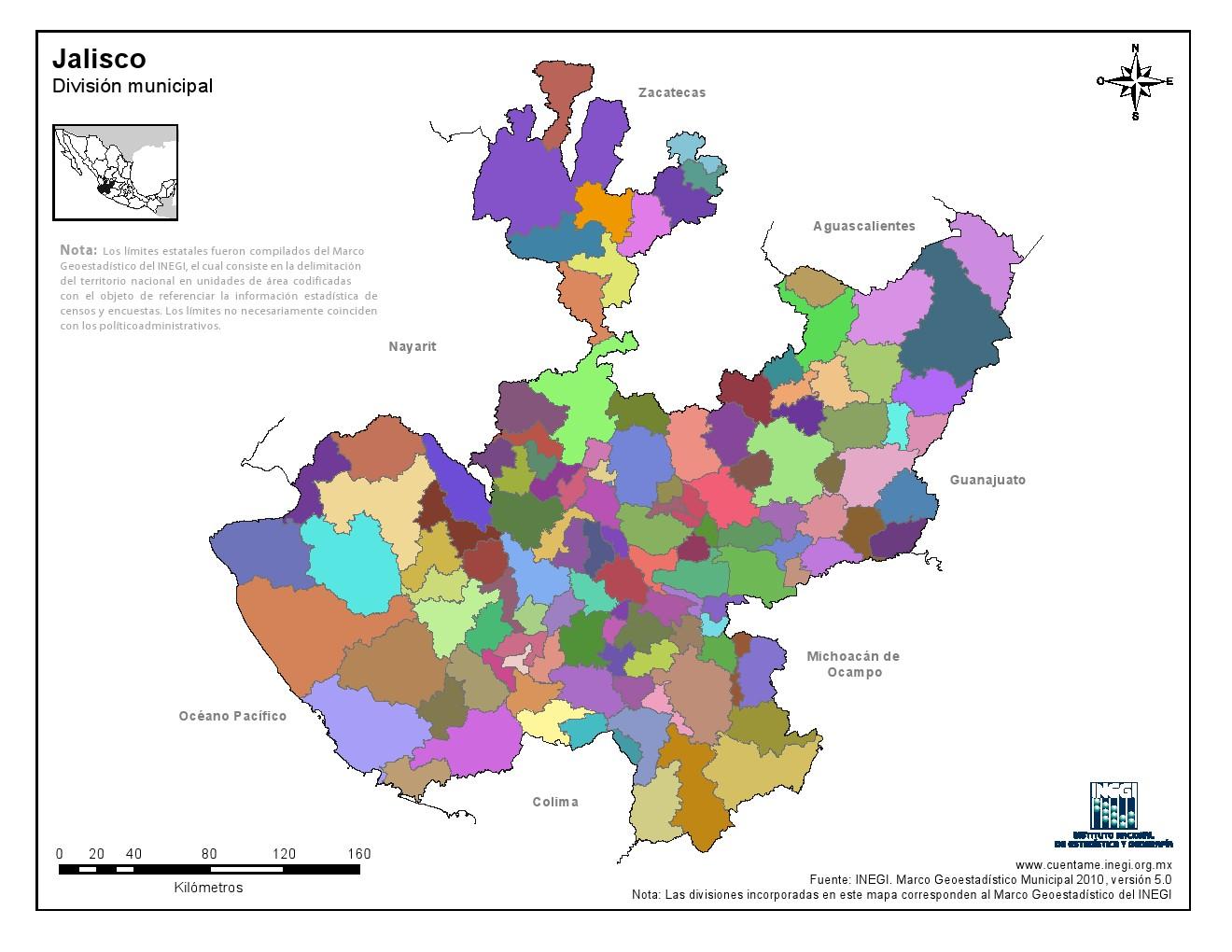 Mapa mudo de municipios de Jalisco. INEGI de México