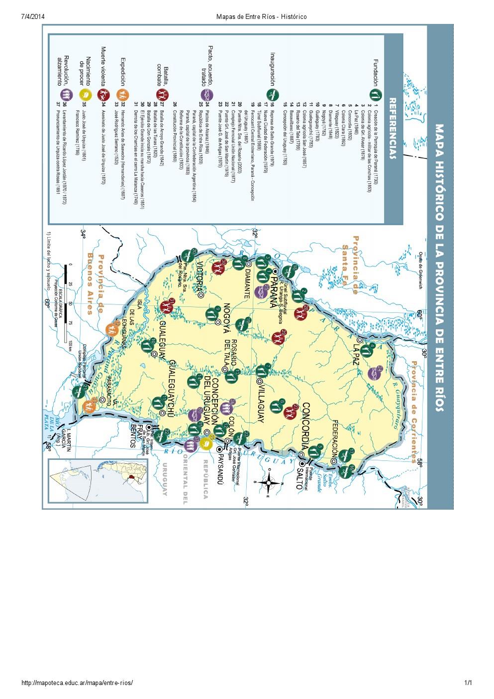 Mapa histórico de Entre Ríos. Mapoteca de Educ.ar
