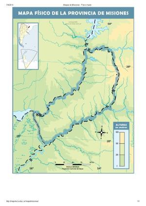 Mapa mudo de ríos de Misiones. Mapoteca de Educ.ar