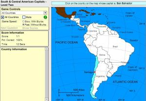 Capitals of South and Central America. Intermediate. Sheppard Software