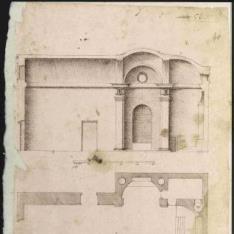 Planta y sección longitudinal de una iglesia