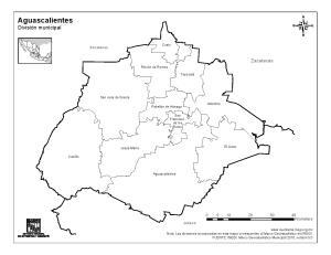 Mapa de municipios de Aguascalientes. INEGI de México