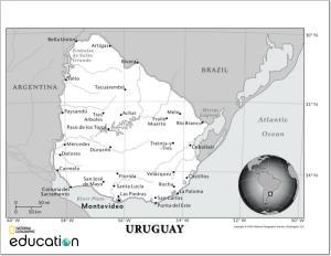 Mapa de ríos de Uruguay. National Geographic