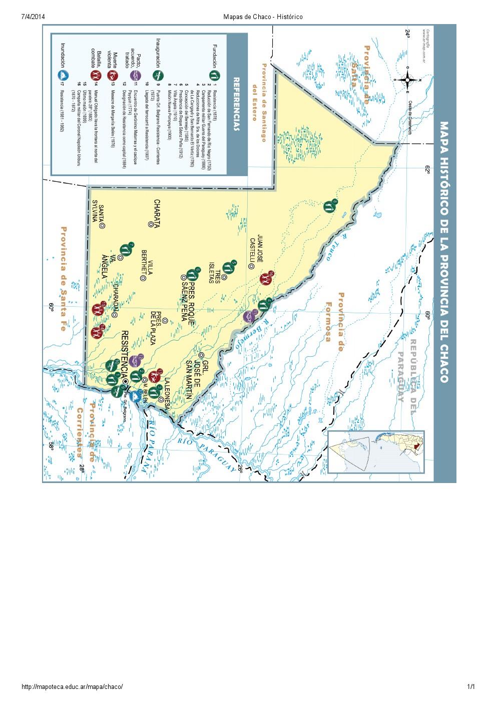 Mapa histórico del Chaco. Mapoteca de Educ.ar