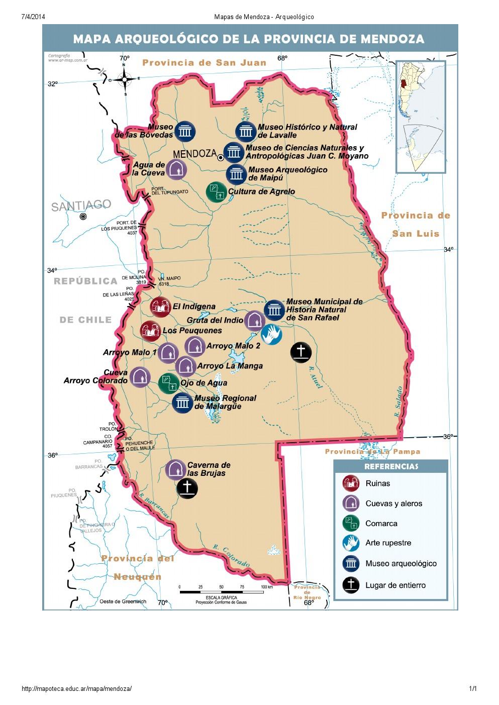 Mapa arqueológico de Mendoza. Mapoteca de Educ.ar
