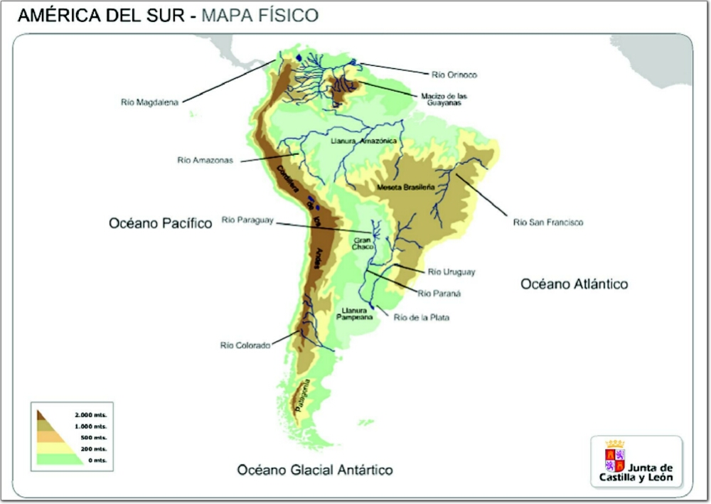 Mapa de relieve de Sudamérica. JCyL