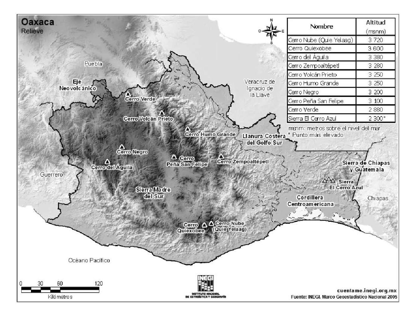 Mapa de montañas de Oaxaca. INEGI de México