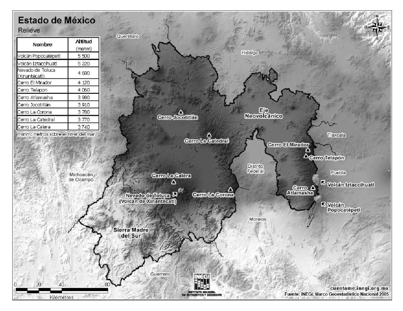 Mapa de montañas del Estado de México. INEGI de México