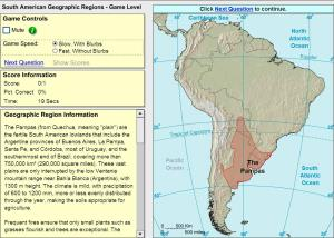 Geographic regions of South America. Game. Sheppard Software