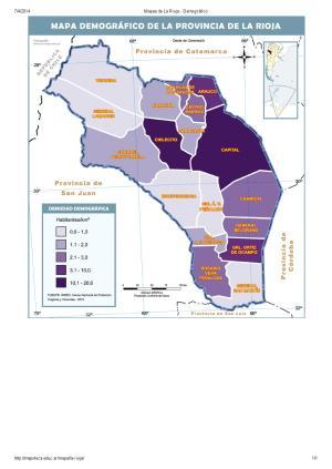 Mapa demográfico de La Rioja. Mapoteca de Educ.ar