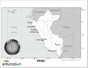 Mapa de ríos de Perú. National Geographic