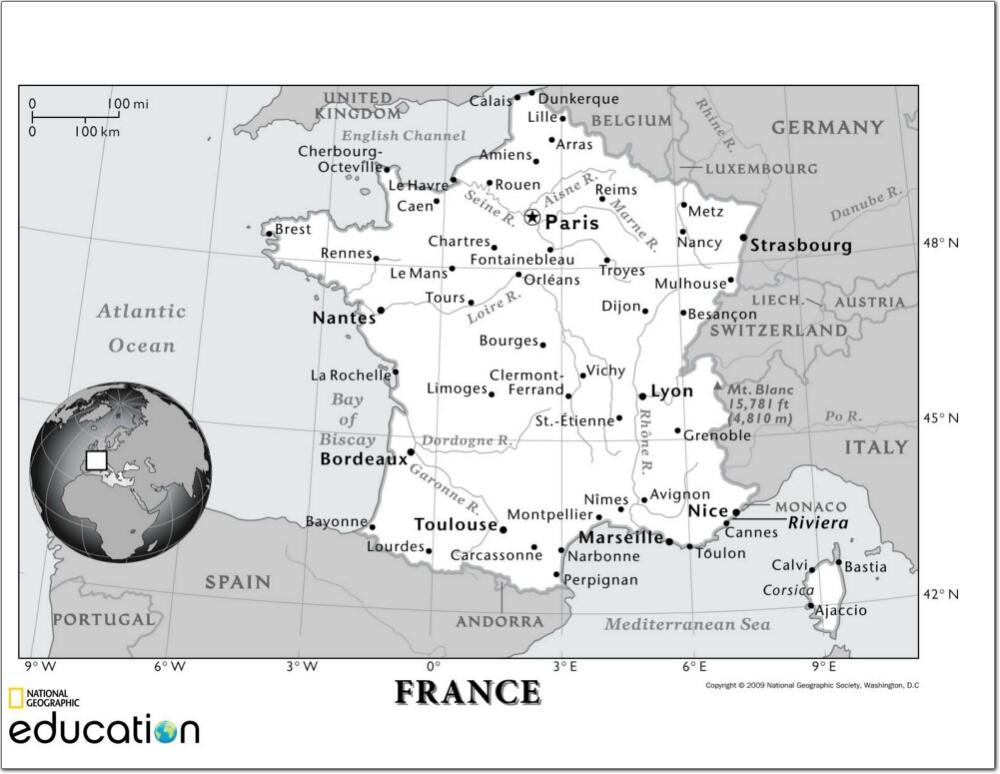 Mapa de ciudades y ríos de Francia. National Geographic