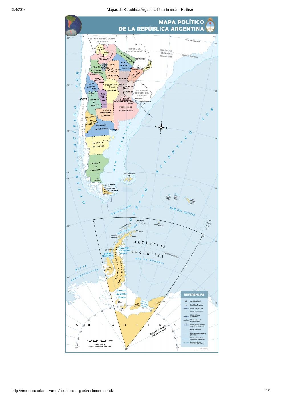 Mapa de provincias de Argentina bicontinental. Mapoteca de Educ.ar