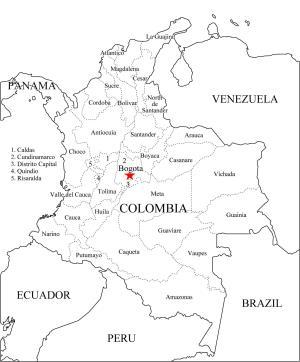 Mapa de departamentos de Colombia. Freemap