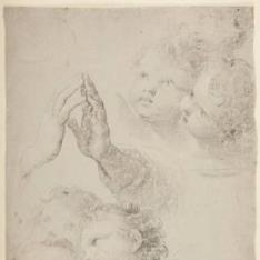 Estudios varios: cabezas de angelitos, manos en oración...